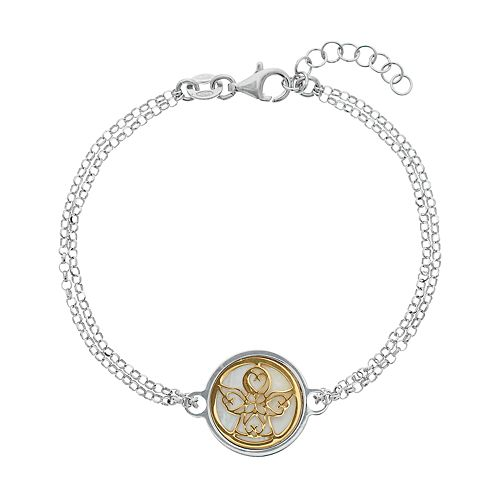 Two Tone Sterling Silver Mother-of-Pearl Angel Double Strand Bracelet