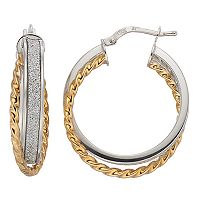 Two Tone Sterling Silver Twisted Rope Glitter Hoop Earrings