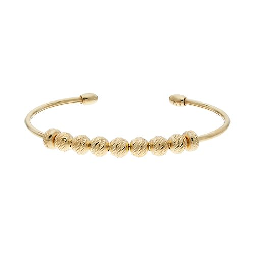 14k Gold Over Silver Beaded Cuff Braclet
