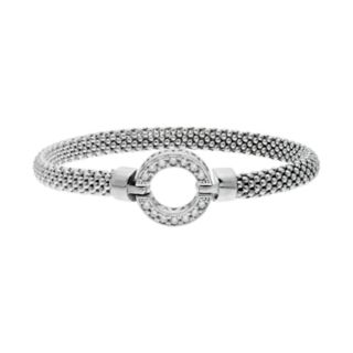 Sterling Silver Cubic Zirconia Circle Bangle Bracelet