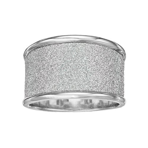 Sterling Silver Glitter Band Ring