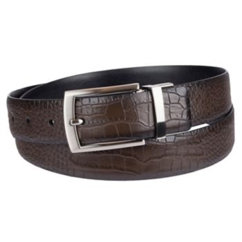 Men's Croft & Barrow® Reversible Feather-Edge Faux-Crocodile Dress Belt