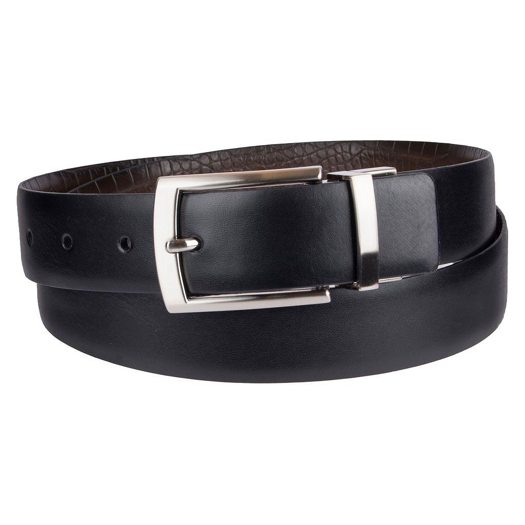 Men's Croft & Barrow® Reversible Feather-Edge Faux-Crocodile Dress Belt