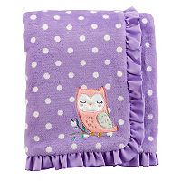 Baby Girl Carter's Embroidered Owl Dotted Ruffled Blanket