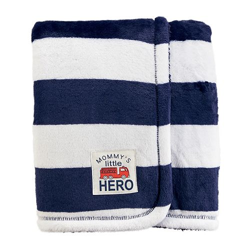 "Baby Boy Carter's Striped ""Mommy's Little Hero"" Plush Blanket"