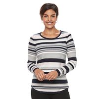 Women's Croft & Barrow® Long Sleeve Curved Hem Sweater