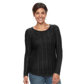 Women's Croft & Barrow® Lurex Ribbed Sweater