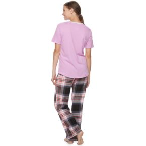 Juniors' SO® Pajamas: Flannel Pants, Shorts & Short Sleeve Top 3-Piece PJ Set