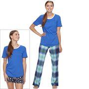 Juniors' SO® Pajamas: Flannel Pants, Shorts & Short Sleeve Top 3 pc PJ Set