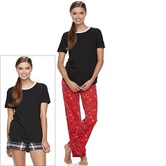 Juniors' SO® Pajamas: Knit Pants, Shorts & Short Sleeve Top 3 pc PJ Set
