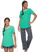 Juniors' SO® Pajamas: Knit Pants, Shorts & Short Sleeve Top 3 pc PJ Set