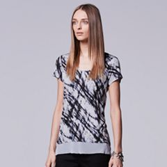Petite Simply Vera Vera Wang High-Low Embellished Printed Tee