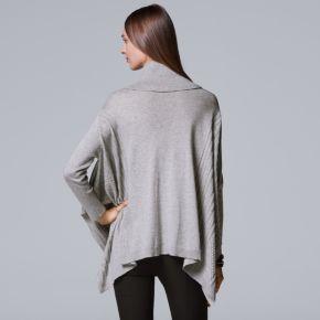 Petite Simply Vera Vera Wang Cowlneck Sweater Poncho