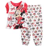 "Disney's Minnie Mouse Toddler Girl ""Bows"" Top & Pants Pajama Set"