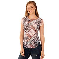 Juniors' Wallflower Print Velour Sleeve Tee