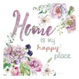 """Home Is My Happy Place"" Canvas Wall Art"