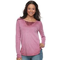 Juniors' Mudd® Macrame Long Sleeve Tee