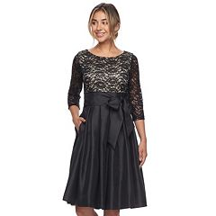 Women's Jessica Howard Pleated Lace Fit & Flare Dress
