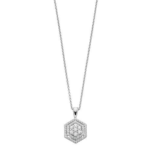 Simply Vera Vera Wang 10th Anniversary Sterling Silver 1/3 Carat T.W. Diamond Flower Hexagon Pendant