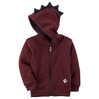 Toddler Boy Carter's Dinosaur 3D Spikes Maroon Zip Hoodie