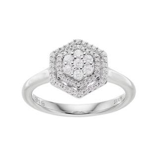 Simply Vera Vera Wang 10th Anniversary Sterling Silver 1/3 Carat T.W. Diamond Flower Hexagon Ring