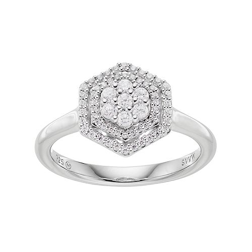 Simply Vera Vera Wang 10th Anniversary Sterling Silver 1/3 Carat T.W. Diamond Flower Hexagon Ring