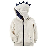 Toddler Boy Carter's Dinosaur 3D Spikes Ivory Zip Hoodie