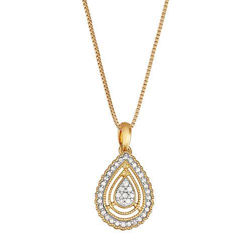 Gold Tone Sterling Silver 1/6 Carat T.W. Diamond Teardrop Pendant