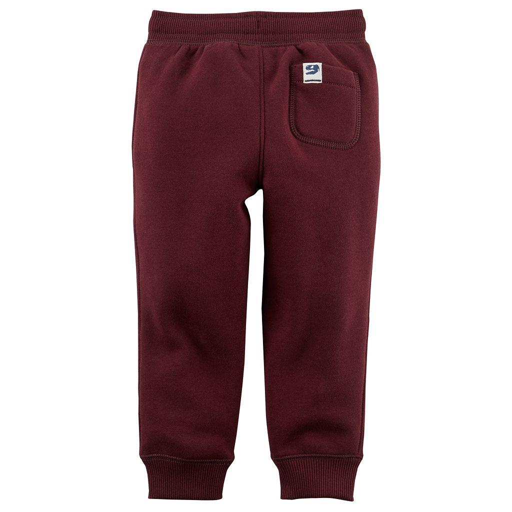 Toddler Boy Carter's Fleece Pull On Maroon Jogger Pants