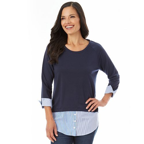 Women's Apt. 9® Mock-Layer French Terry Top