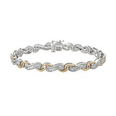 Two Tone 10k Gold Over Silver 1/4 Carat T.W. Diamond Bracelet