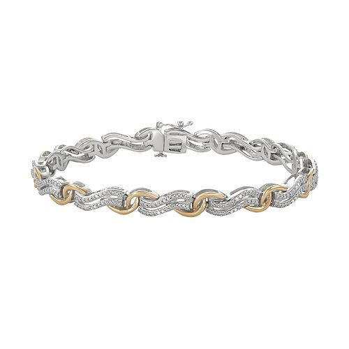 Two Tone 10k Gold Over Silver 1/4 Carat T.W. Diamond Bracelet