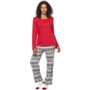 Petite Croft & Barrow® Pajamas: Long Sleeve Top, Pants & Socks 3-Piece PJ Set