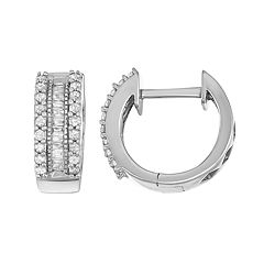 Sterling Silver 1/4 Carat T.W. Diamond Huggie Hoop Earrings