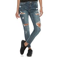 Juniors' Almost Famous Blown Out Ripped Skinny Jeans