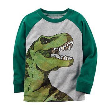 Baby Boy Carter's Watercolor Dinosaur Raglan Long Sleeve Graphic Tee