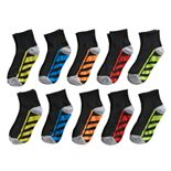 Boys Tek Gear 10-Pack Lightweight Quarter-Crew Performance Socks