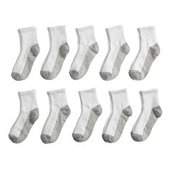 Boys Tek Gear 10-Pack Lightweight Quarter-Crew Socks