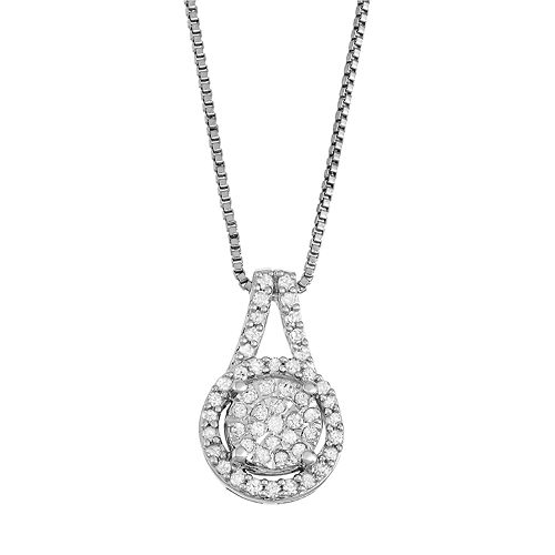Sterling Silver 1/5 Carat T.W. Diamond Cluster Pendant Necklace