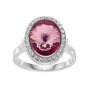 Brilliance Silver Plated Oval Halo Ring with Swarovski Crystals