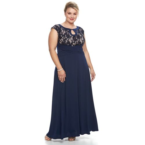 Plus Size Chaya Lace Bodice Crossover Evening Gown