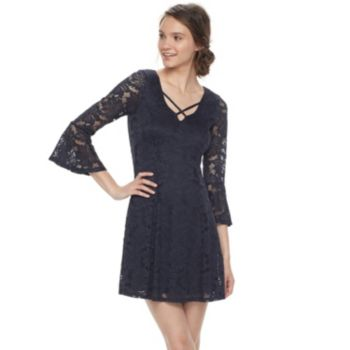 Juniors' Three Pink Hearts Lace Bell Sleeve Dress