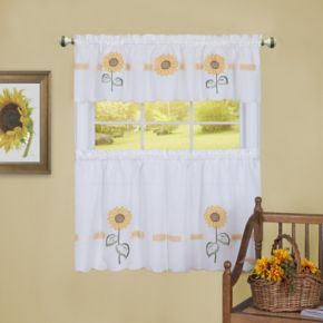 Achim Sun Blossoms Tier & Valance Kitchen Window Curtain Set