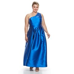 Plus Size Chaya One Shoulder Fit & Flare Evening Gown