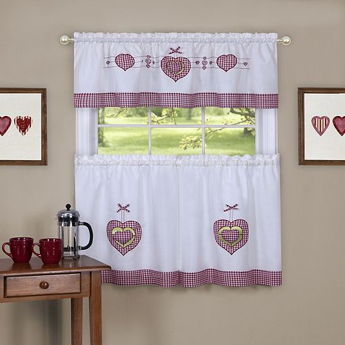 Achim Gingham Hearts Tier & Valance Kitchen Window Curtain Set