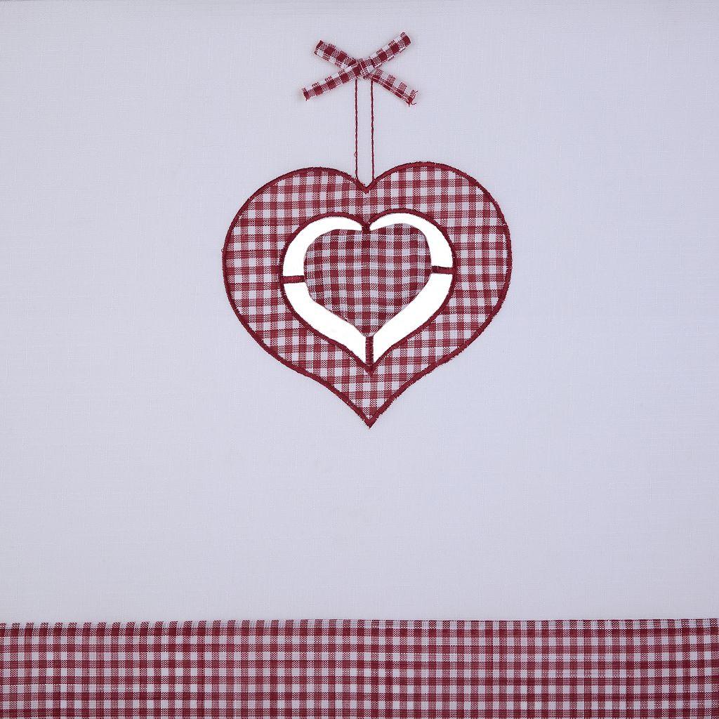 Achim Gingham Hearts Tier & Valance Kitchen Window Curtain Set