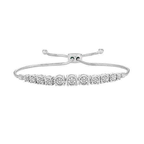 Sterling Silver 1/10 Carat T.W. Diamond Graduated Bolo Bracelet