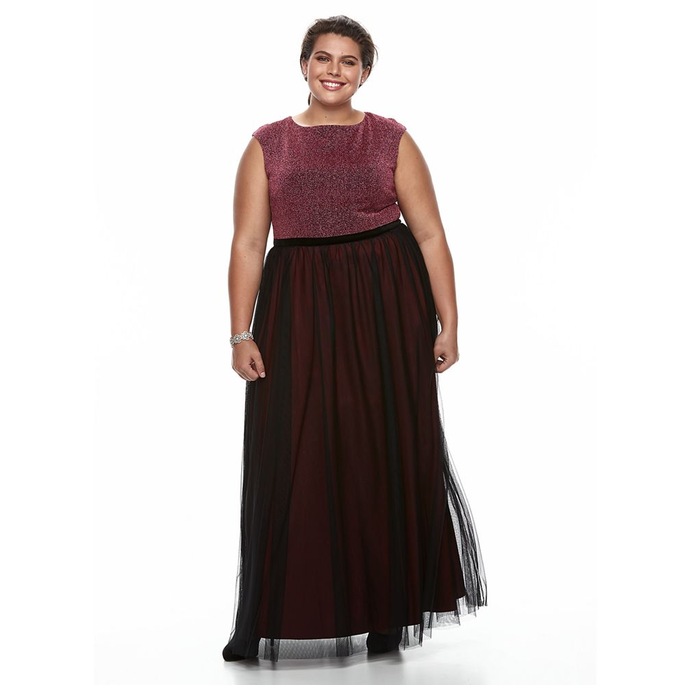Plus Size Chaya Lurex Fit & Flare Evening Gown