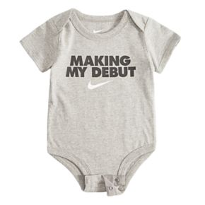 "Baby Boy Nike ""Making My Debut"" Logo Bodysuit"
