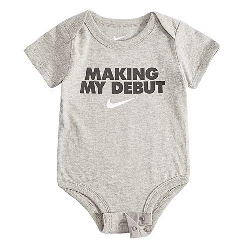 """Baby Boy Nike """"Making My Debut"""" Logo Bodysuit"""